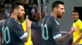 Messi told Tite to shut up. Screenshot/DAZN