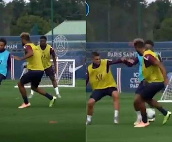 Neymar nutmegged Choupo-Moting. Screenshot/PSG