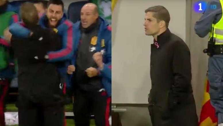 Robert Moreno, al estilo Mourinho. Captura/TVE