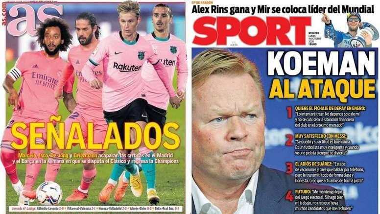 Portadas de la prensa deportiva del 19-10-20. AS/Sport