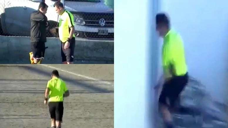 El árbitro paró el partido para ir al baño. Captura