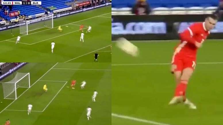Bale mandó el balón a las nubes. Captura