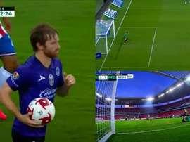 Mazatlán got the first goal in their history. Screenshot/TUDN
