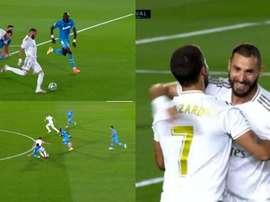 La connexion Hazard-Benzema fait des siennes. Captura/MovistarFutbol