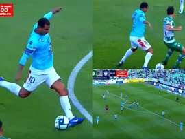 Cardona volvió a su cita con el gol. Captura/FOXSports2