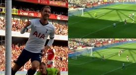 Eriksen llegó a los 50 goles con el Tottenham. Captura/Movistar+