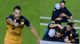 Christian Javier Báez celebró su gol de forma efusiva con Maradona. Captura/Dorados