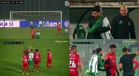 Gol y expulsión para Mehdi. Captura/VSports
