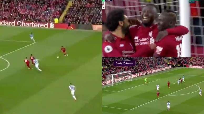 Naby Keïta n'a mis que 17 secondes à se mettre devant au score face à Liverpool. Capture/Movistar