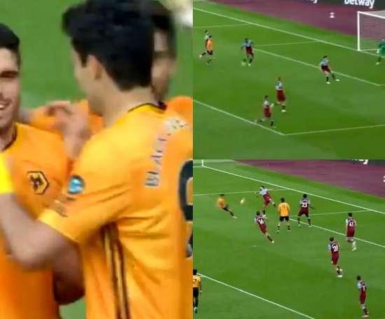 Neto cazó un balón y fusiló al portero del West Ham. Captura/SporTV