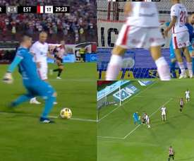 Insólito gol el que marcó Estudiantes de La Plata. Captura/TNTSports
