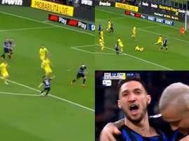 El Inter se adelantó gracias al tanto de Politano. Captura