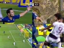 Sand empató y Zárate adelantó de nuevo a Boca. Captura/TNTSports