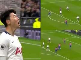Son marca o primeiro gol do Tottenham em seu novo estádio. Captura/beINSports