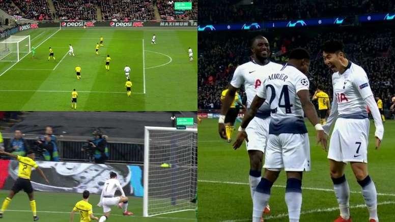 Son aprovechó un error en la salida del Borussia para hacer el 1-0. Captura/MovistarLigadeCampeones