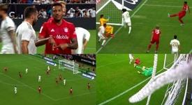 Benzema se manque, Tolisso marque. Capture/RealMadridTV