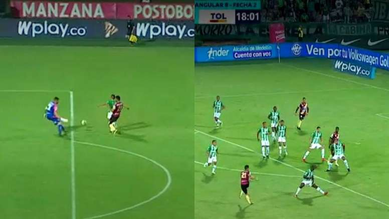 Vladimir Hernández marcó el 1-0 y Marco Pérez igualó a uno. Captura/WINSports