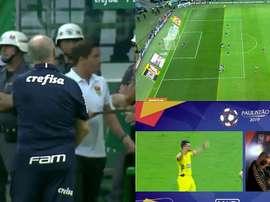 El VAR anuló un gol a Palmeiras y Scolari quiso sacar a sus jugadores . Captura/GloboEsporte
