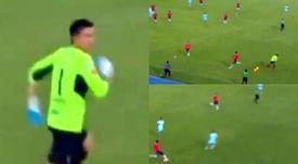 Insólito gol el que marcó Álvarez para Wilstermann. Captura