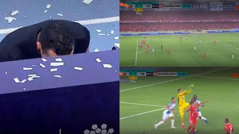 Wilmar Roldán anuló un gol a Junior por fuera de juego. Captura/WinSports
