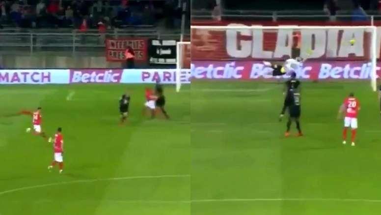 Los golazos que dieron la victoria al Nîmes ante el Rennes. Captura/beINSports