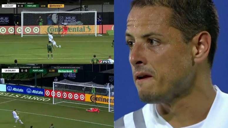 Chicharito falló el penalti. Captura