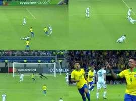 Gabriel Jesus ouvre le score face à l'Argentine. Captura/DAZN