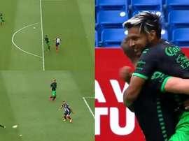 Nico Sánchez, héroe y villano: adelantó a su equipo y regaló un gol absurdo. Captura/FOXSports