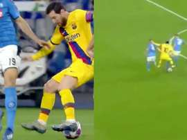 La 'delicatessen' de Messi: un toque burlar a dos rivales. Twitter/ChampionsLeague