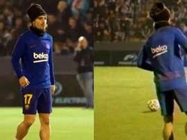 Descontração de Antoine Griezmann foi flagrada durante aquecimento. Captura/FCBarcelona