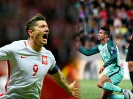 Robert Lewandowski et Cristiano Ronaldo. BeSoccer/AFP
