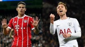 Les pour et les contre de James et Eriksen pour l'Atlético. EFE/AFP