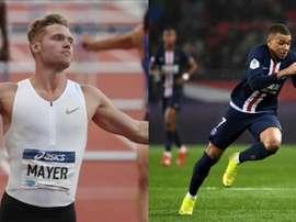 Kevin Mayer lance un défi à Kylian Mbappé sur 100 mètres. EFE/AFP