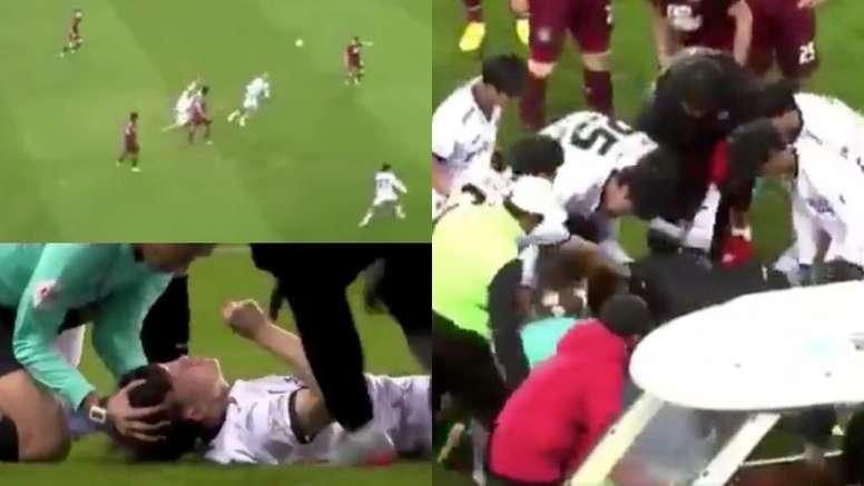 El futbolista perdió totalmente el conocimiento. Captura/SPOTV
