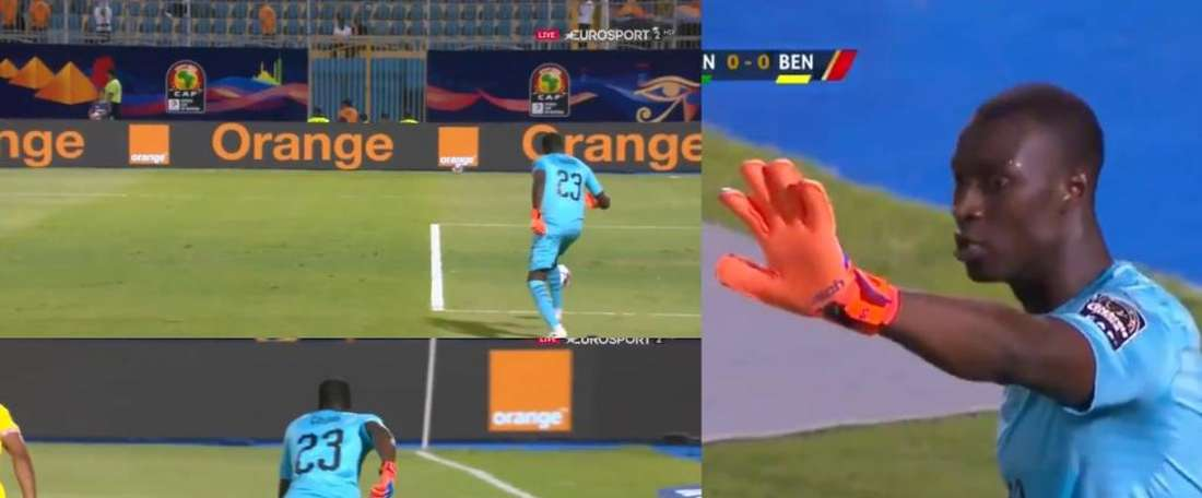 Gomis was very close to conceding a crazy own goal against Benin. Collage/EurosportUK