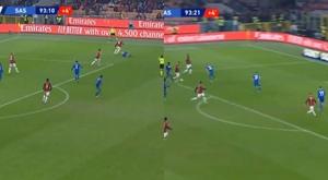 Lateral do Milan foi de uma área a outra, mas não conseguiu marcar. Captura/MovistarLigadeCampeones