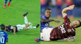 La espeluznante entrada a Diego que le fracturó el tobillo. Collage/FoxSports