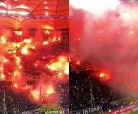 Fiesta de los aficionados del Dynamo Dresden en el campo del Hamburgo. Captura/ESPN