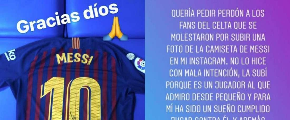 Mazan si scusa con i tifosi del Celta. Instagram