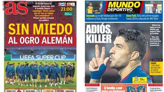 Les Unes des journaux sportifs en Espagne du 24 septembre 2020. as/md