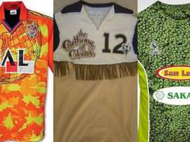 Trois des maillots les plus moches. Twitter/BeSoccer