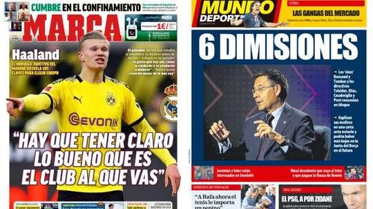 Les Unes des journaux sportifs en Espagne du 10 avril 2020. Marca/MundoDeportivo
