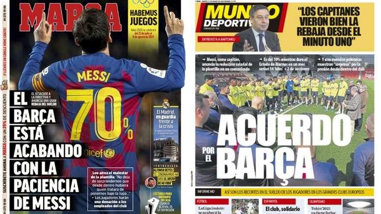 As capas da imprensa esportiva de 31 de março de 2020.  Marca/MundoDeportivo