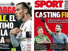 Les Unes des journaux sportifs en Espagne du 08/02/2020. Marca/Sport