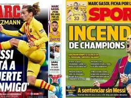 As capas da imprensa esportiva de 24 de novembro de 2020. Sport/Marca