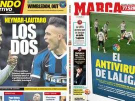 Les Unes des journaux sportifs en Espagne du 02 avril 2020. MundoDeportivo/Marca