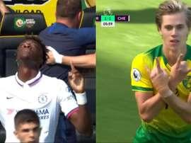 Le début de match complètement fou de Norwich-Chelsea. Collage/DAZN