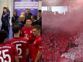 Jogo teve de ser parado por protesto contra o dono do Hoffenheim. Captura/MovistarLigadeCampeones