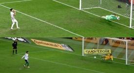 La maldición de Gustavo Gómez en Porto Alegre: dos penaltis errados en tres semanas. Collage/ESPN