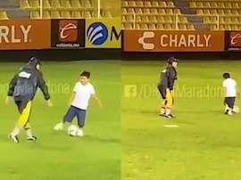 Maradona se divirtió junto a su hijo. DiegoMaradona